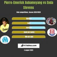 Pierre-Emerick Aubameyang vs Enda Stevens h2h player stats