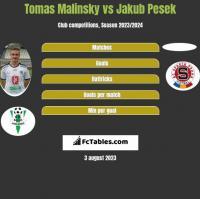 Tomas Malinsky vs Jakub Pesek h2h player stats