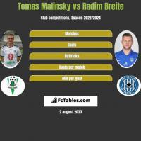 Tomas Malinsky vs Radim Breite h2h player stats