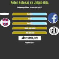 Peter Kolesar vs Jakub Gric h2h player stats