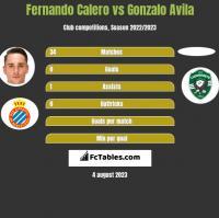 Fernando Calero vs Gonzalo Avila h2h player stats