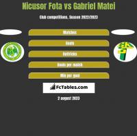 Nicusor Fota vs Gabriel Matei h2h player stats