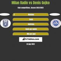 Milan Radin vs Denis Gojko h2h player stats
