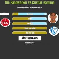 Tim Handwerker vs Cristian Gamboa h2h player stats