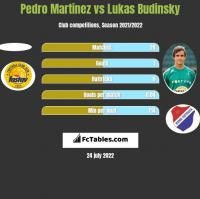 Pedro Martinez vs Lukas Budinsky h2h player stats
