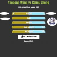 Yaopeng Wang vs Kaimu Zheng h2h player stats