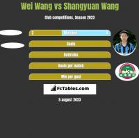 Wei Wang vs Shangyuan Wang h2h player stats