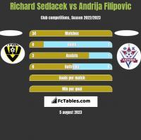 Richard Sedlacek vs Andrija Filipovic h2h player stats