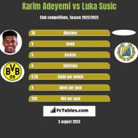 Karim Adeyemi vs Luka Susic h2h player stats