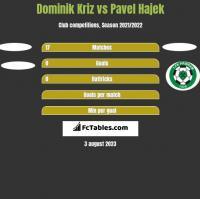 Dominik Kriz vs Pavel Hajek h2h player stats