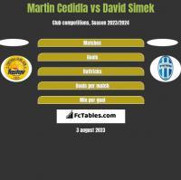 Martin Cedidla vs David Simek h2h player stats